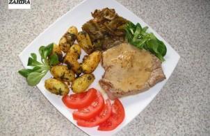 Tonijn biefstuk met tuinbonen en marokkaans gekruide aardappelen