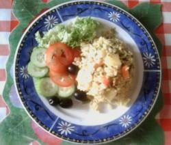 Rijst met groenten en linzen