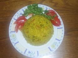 Rijst met garnalen en inktvis