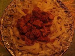 Tagliatelle met kip en champignon roomsaus