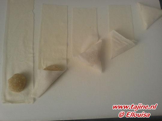 Bereiding Marokkaanse Amandel driehoekjes