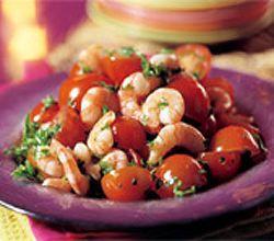 Sla van tomaten en garnalen