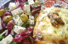 lasagne met zeevruchten en champignons