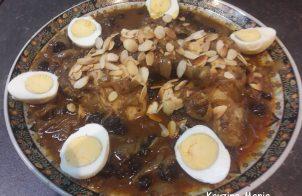 Tajine van zoete kip met uien rozijnen en uien