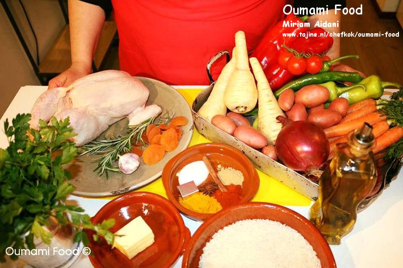 Een verrassende met rijst gevulde kip en groenten-ovenschotel ingredienten